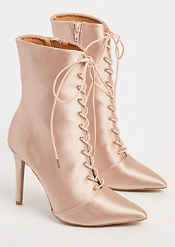 Nude Lace Up Satin Bootie By Qupid