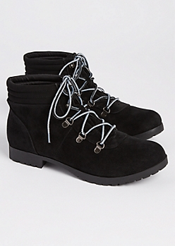 Black Faux Suede Hiking Boot By Qupid