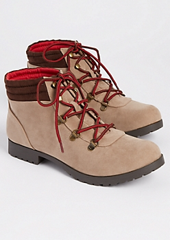 Taupe Faux Suede Hiking Boot By Qupid