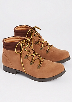 Camel Faux Suede Hiking Boot By Qupid