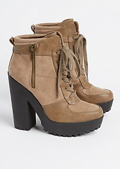 Taupe Lace Up Platform Bootie By Qupid