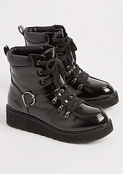 Black Faux Patent Leather Combat Boot By Qupid