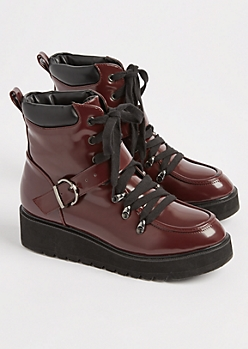 Burgundy Faux Patent Leather Combat Boot By Qupid