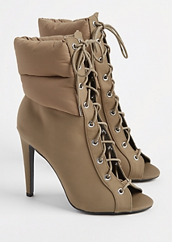 Khaki Puffer Stiletto Bootie By Qupid