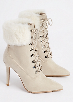 Oatmeal Heather Faux Fur Stiletto Bootie By Qupid