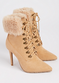 Taupe Faux Fur Stiletto Bootie By Qupid