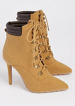 Camel Faux Suede Hiker Stiletto Bootie By Qupid
