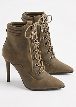 Khaki Faux Suede Hiker Stiletto Bootie By Qupid