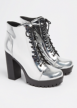 Silver Metallic Platform Bootie By Qupid