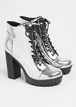 Silver Metallic Platform Bootie By Qupid