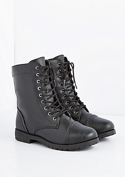 Black Washed Vegan Leather Combat Boot