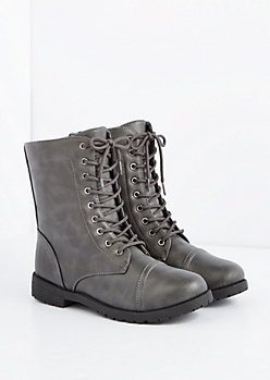 Gray Washed Vegan Leather Combat Boot