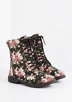Black Floral Lace Up Combat Boot