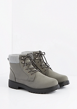 Gray Sweater Trim Lace up Hiking Boot