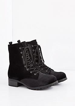 Black Velvet Combat Boot