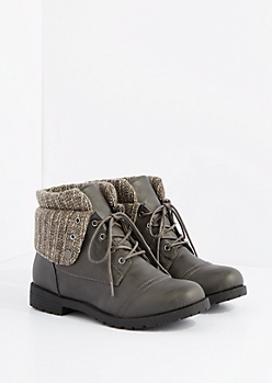 Gray Sweater Trim Fold Over Hiking Boot