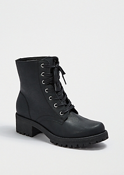 Black Faux Leather Combat Boot By Wild Diva®
