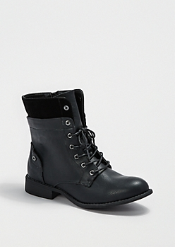 Black Layered Combat Boot By Wild Diva®