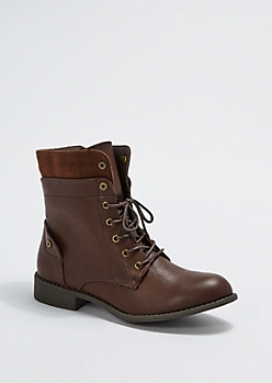 Brown Layered Combat Boot By Wild Diva®