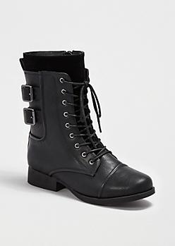 Black Double Buckle Combat Boot By Wild Diva®