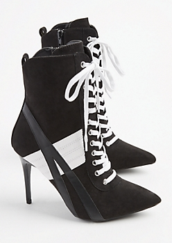 Black Athletic Stripe Stiletto Bootie By Wild Diva