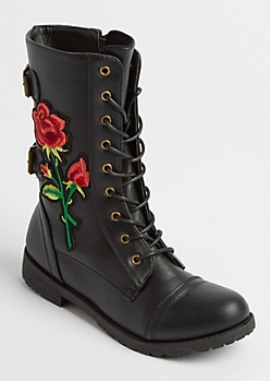 Embroidered Blossom Combat Boots