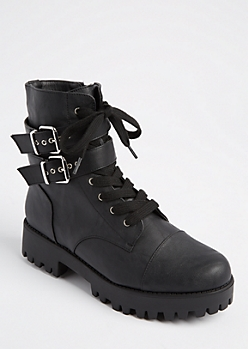 Black Strapped Leg Combat Boot