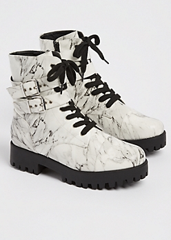 Marbled Strapped Leg Combat Boot