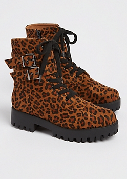 Leopard Strapped Leg Combat Boot