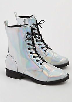 Holographic Combat Boot By Wild Diva