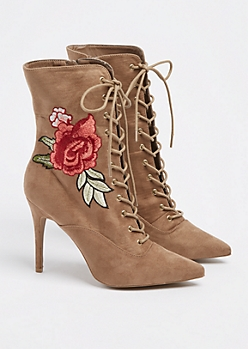 Taupe Rose Embroidered Lace Up Bootie