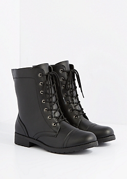 Black Mock Leather Combat Boot