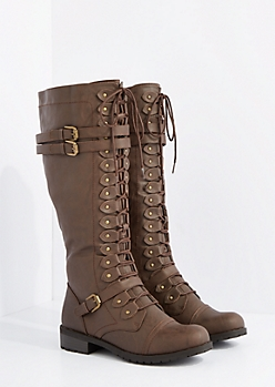Brown Washed Lace Up Riding Boot By Wild Diva
