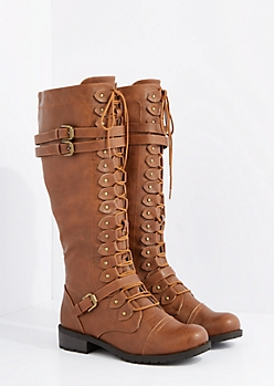 Cognac Washed Lace Up Riding Boot By Wild Diva