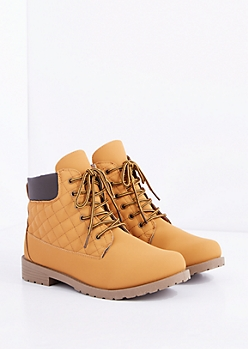 Tan Quilted Hiking Boot