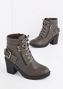Gray Lace Up Moto Bootie