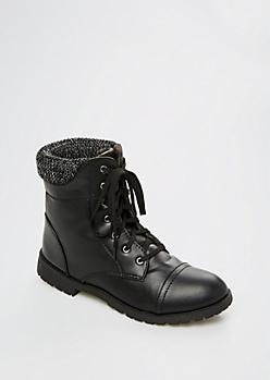 Black Knit Collar Hiking Boot