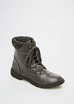 Gray Knit Collar Hiking Boot