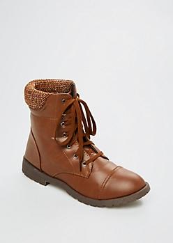 Cognac Knit Collar Hiking Boot