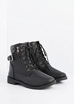 Black Mock Leather Sweater Knit Cuff Combat Boot