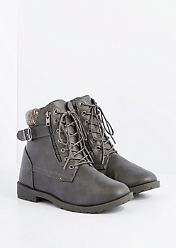 Gray Mock Leather Sweater Knit Cuff Combat Boot