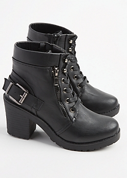 Black Faux Leather Zip Bootie