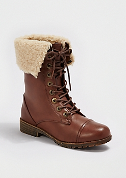 Brown Faux Sherpa Combat Boot By dollhouse®