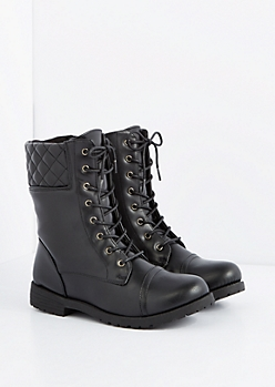 Trapunto Back Combat Boot