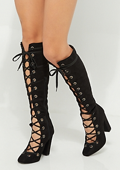 Lace Up Heeled Knee Boot By Yoki