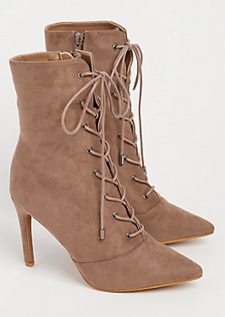 Taupe Faux Suede Stiletto Bootie