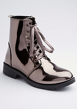 Pewter Metallic Combat Boot By Yoki