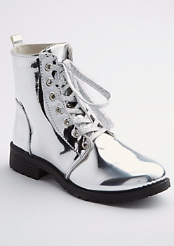Silver Metallic Combat Boot By Yoki