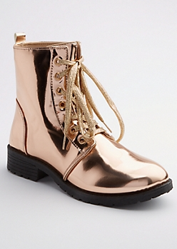 Rose Gold Metallic Combat Boots