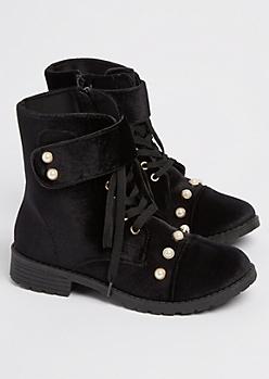 Black Velvet Pearl Combat Boot